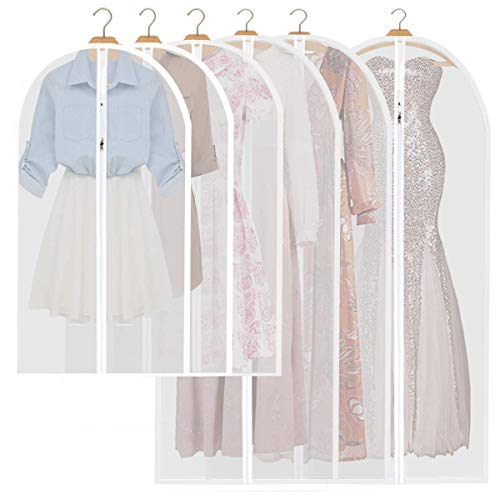 Garment Bag Clear Long Dress Moth Proof Garment Bags Dust Cover White Breathable Bag with Full Zipper for Clothes Closet Storage Pack of 6
