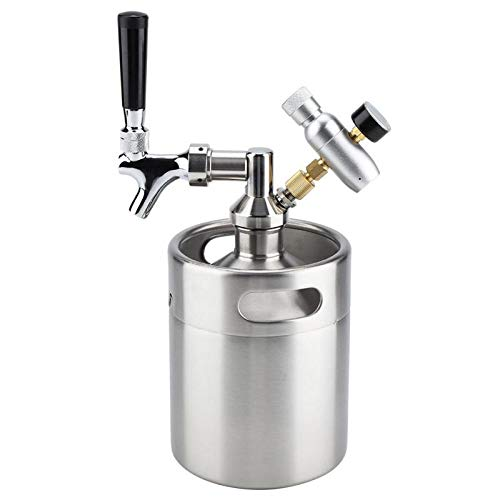 Beer Brewing - 2l Stainless Steel Beer Keg With Carbonator Cap Faucet Mini Barrel Kegging Equipment Home Brewing - Brewing Wort Cleaner Siphon Starter Container Extract Beginners Dummies Wall Gr