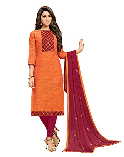Viva N Diva Salwar Suit with Dupatta for Women's Orange Color Cotton Embroidered Non Stitched Dress Material, Indian Pakistani - Suit Salwar Crepe