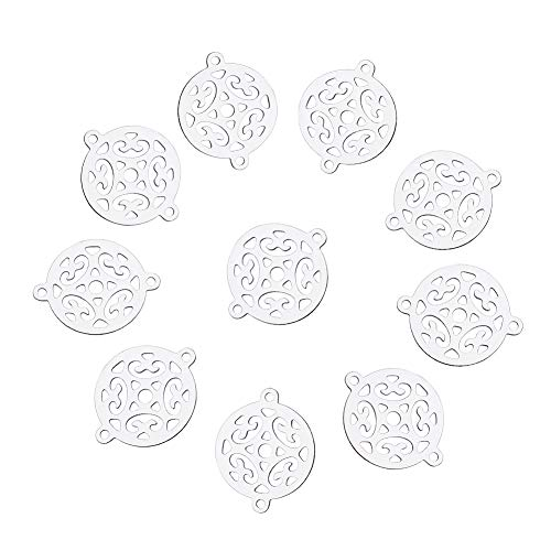 Laliva 20 PCs 19x15x0.2mm Platinum Tone Flat Round 202 Stainless Steel Filigree Joiners Links Connectors with 1mm Hole Jewelry Findings