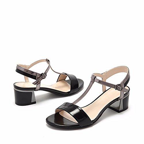 No. 55 Shoes Estate Bassa Confortevole con Testa Tonda con Fibbia Toe Lady Sandali,US7.5/EU38/UK5.5/CN38,Nero