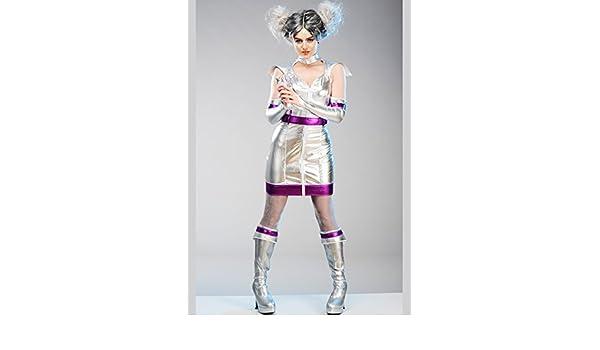 Magic Box Disfraz de niña alienígena de Plata para Mujer Small (UK ...
