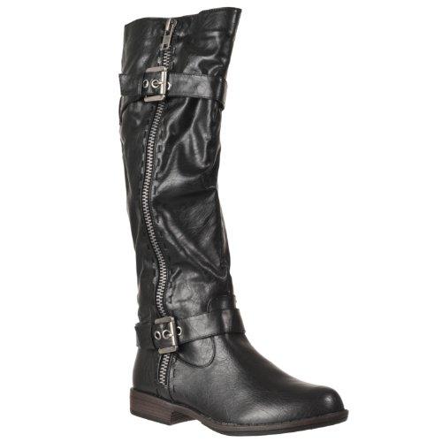 Bamboe Dames Montage Rits-detail Crinkle Texture Faux Lederen Laarzen Zwart