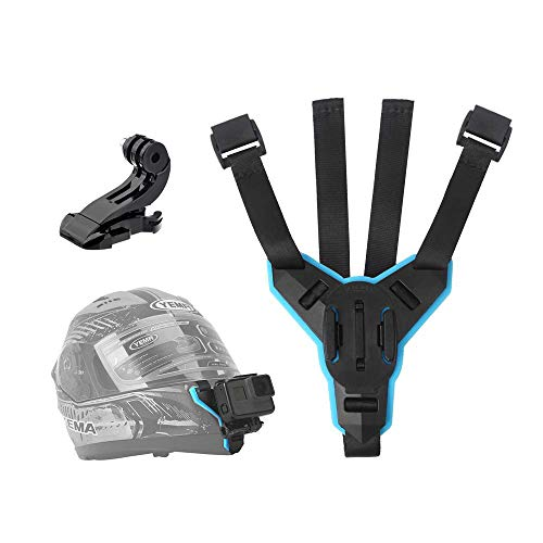 TELESIN Helmet Chin Mount, Motorcycle Helmet Strap for GoPro Hero (2018) Hero 7 Black/White/Gray, Hero 6 Hero 5 Black Hero 4/3+/LCD Session Fusion, 360 Camera, AKASO, Campark, Polaroid, Lite, APEMAN