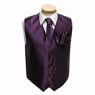 Eggplant - Purple Men's Vest with Skinny Necktie and Pocket Square Set