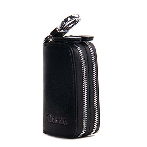Contacts Genuine Leather Double Zipper Car Key Holder Key Case Wallet Men Women