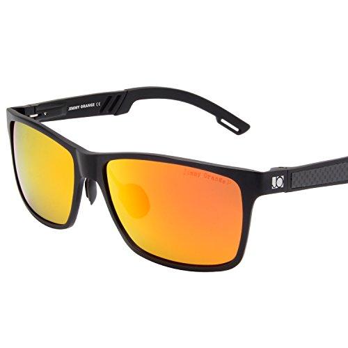 Jimmy Orange Aluminum Magnesium Frame Mirrored Lens Polarized Men Women Wayfarer Sunglasses JO661 (black frame red lenses)