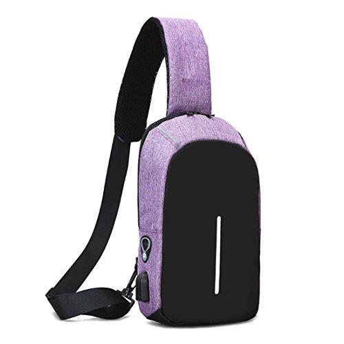 De Pecho Blue Honda Hombres Externo Purple Usb color Grande Capacidad La Del Los Carga Bolso Mochila Cruzada Pollusui qFSEa