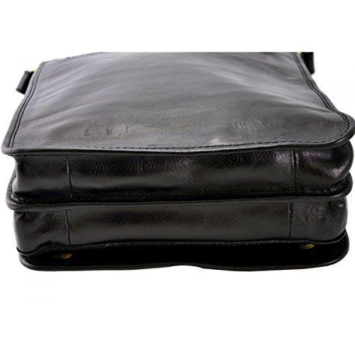 Umhängetasche Aus Echtem Leder Farbe Schwarz - Italienische Lederwaren - Herrentasche