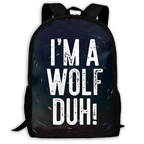 I'm A Wolf Duh Fashion Canvas 3D Print Hiking Backpack Casual Shoulder Backpack ()