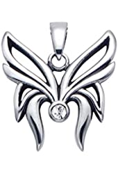 Stainless Steel Butterfly Pendant with Faceted White Crystal