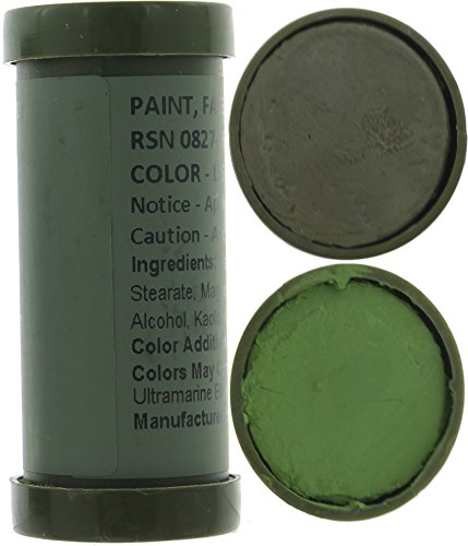 Camo Face Paint, NATO Camouflage Military Makeup Paint Sticks (Light Green & Loam - 1 Stick - 2 Colors) Light Camouflage Makeup