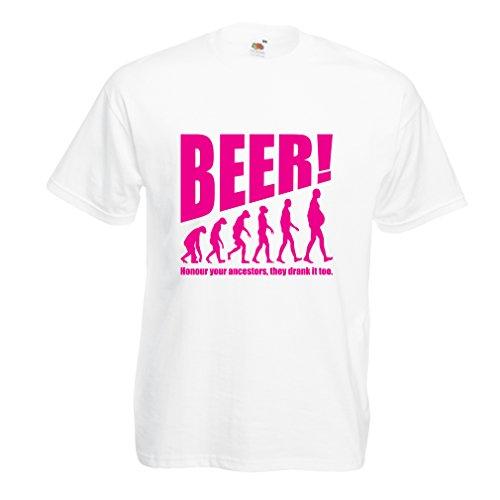 N4534 T Shirts For Men The Beervolution (Medium White Magenta)