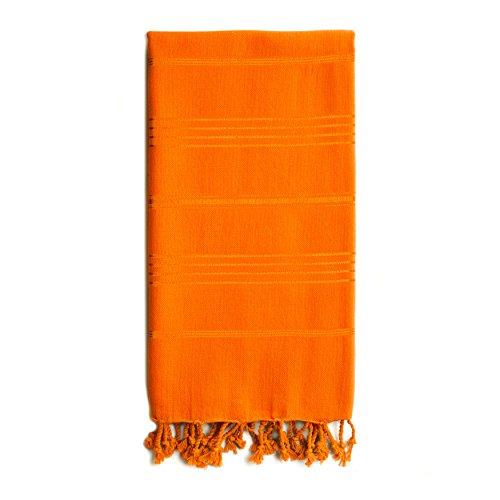 Linum Home Textiles Summer Fun Beach Pestemal Towel  100% Soft Premium Authentic Turkish Cotton Luxury Pestemal, Dark Orange
