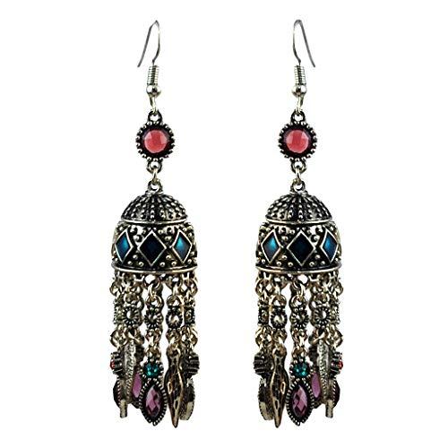 1 Pair Vintage Women Bohemian Long Dangle Gemstone Tassel Drop Earrings Necklace Jewelry Crafting Key Chain Bracelet Pendants Accessories Best| Color - Green ()