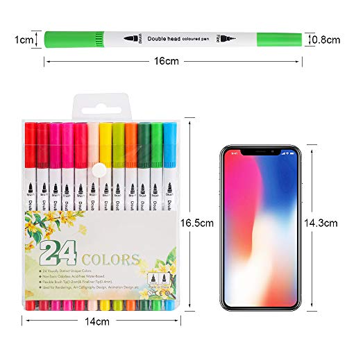 bedee Colouring Pens for Adults and Kids, 24 Colors Dual Tip Brush Pens Set - Felt Brush Tip & Fineliner Tip, Art Watercolour Markers Pen for Colouring Books, Drawing, Sketching, Bullet Journal
