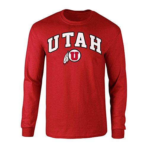 Elite Fan Shop NCAA Men's Utah Utes Long Sleeve Shirt Team Color Arch Utah Utes Red Medium