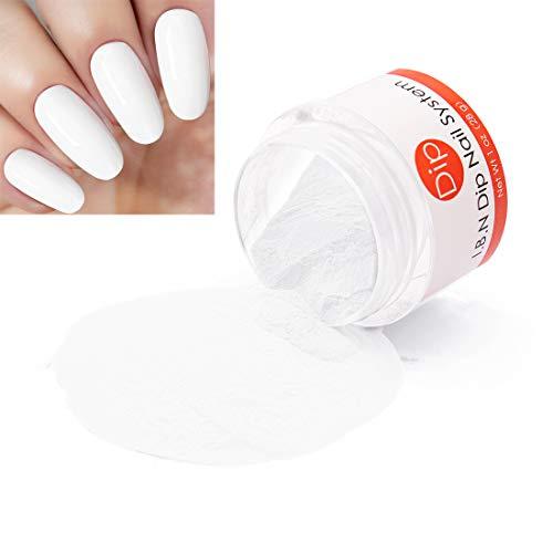White Dipping Powder (Added Vitamin) Nail Art Manicure Dip Acrylic Powder, 1 Ounce /28g, No Need Nail Dryer Machine (DIP ()