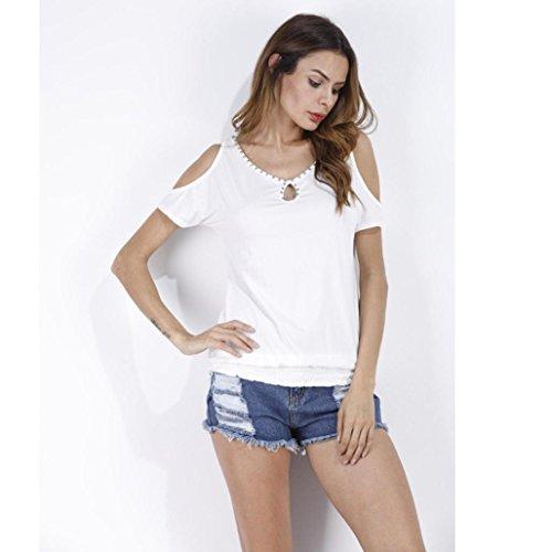 Mujeres sólida camisa de manga corta tops blusa camiseta O cuello con perla Blanco