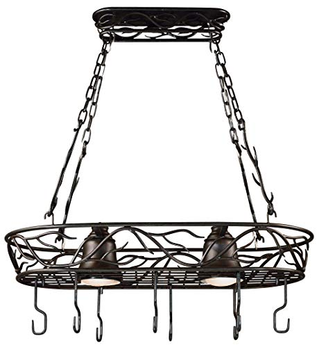 Pot Light Rack 2 - Kenroy Home 90308BRZ  Twigs 2-Light Pot Rack, Blackened Bronze Finish