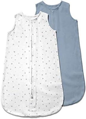 Ely's & Co. ベビーウェアラブルブランケット│スリープバッグ2パックセット – 100%インターロックニットコットン製 6-12ヶ月の赤ちゃん用 – ダスティブルースター&ソリッドダストブルー