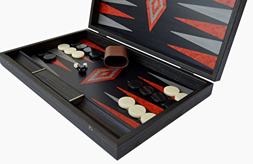 Manopoulos Argento and Black Oak Backgammon Set - Hand Made in Greece ()