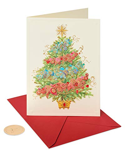 Papyrus Holiday Boxed Cards, Glittered Christmas Tree with Ornaments, 12-Count