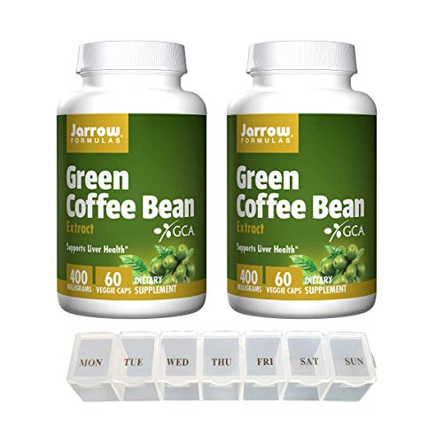 Jarrow Green Coffee Bean Extract 400 Milligrams Supports Liver Health Dietary Supplement - 60 Veggie Caps (Pack of 2) with Daily Capsule Organizer