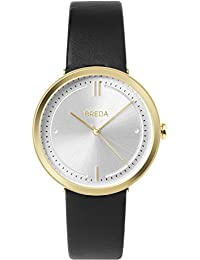 Women's 'Agnes' 1733a Gold and Black Leather Strap Watch, 34MM