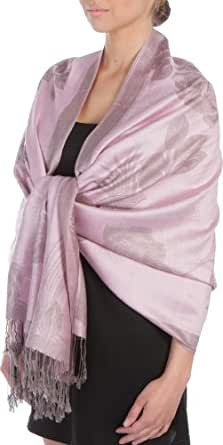 Sakkas Two Tone Rose Pashmina Scarf/Stole / Wrap - Baby Pink/Gray
