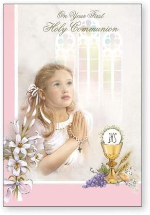 Girl On your First Holy Communion C27138 TOTL Communion Card Symbolic