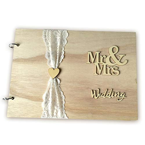 Price comparison product image liumiKK Personalized Guest Book Wooden Wedding Mr & Mrs Lace Guestbooks Signature Message Rustic Wedding Party Gifts