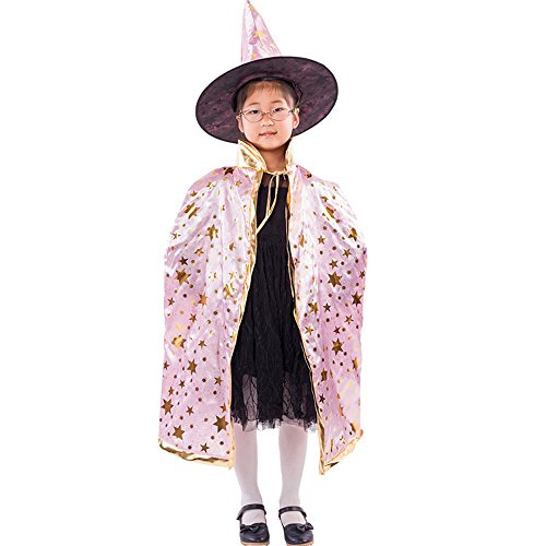 HomeMals Halloween Costumes Witch Wizard Cloak with Hat for Kids Children Pink