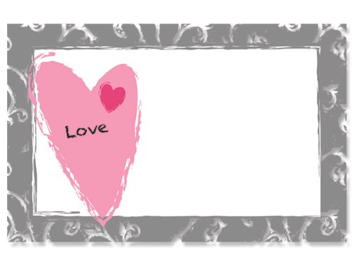 50 pack ''Love'' Contemporary HeartEnclosure Cards (20 unit, 50 pack per unit.) by Nas