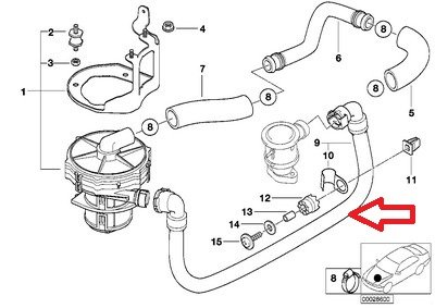 BMW E38 740i 740iL Air Pump Hose Emission Control Pump To Valve Brand New