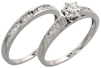 14k White Gold 2 Piece Wedding Ring Set W 035 Carat Baguette
