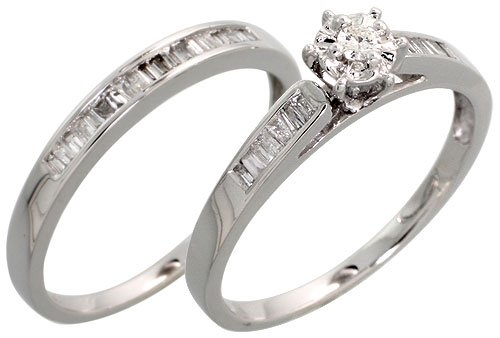 amazoncom 14k white gold 2 piece wedding ring set w 035 carat baguette brilliant cut diamonds 14 6mm wide jewelry - White Gold Wedding Ring