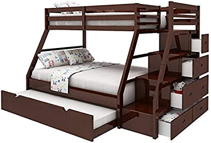 Amazon Com Bowery Hill Twin Over Full Storage Bunk Bed With