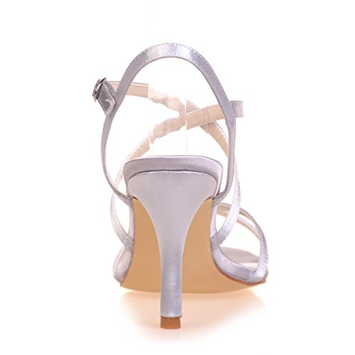 Plataforma Night Peep Toe Altos Tacones Party yc L amp; Confort Para Boda Mujer Wedding De Satén Sandalias White nUqwzn6x08