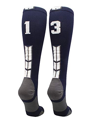 MadSportsStuff Navy/White Player Id Over The Calf Number Socks (#13, Small) ()
