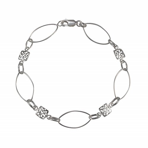 DragonWeave Light Marquise Oval Link Sterling Silver Bracelet with Filigree Squares - 7 - Filigree Oval Link
