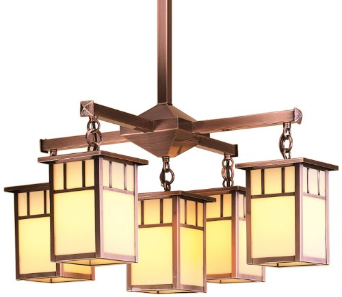 Arroyo Craftsman HCH-4L/4/4-1DTAM-BZ Huntington Collection 9-Light Chandelier, Bronze Finish with Almond Mica Panels