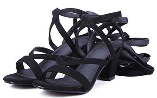 Easemax Femmes Mode Mi Talons Chunky Faux Suède Auto Cravate Sandales Gladiateur Noir