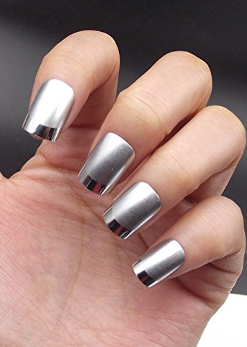 Amazon.com : YUNAI Squoval False Nails Classical Silver Artificial Nails with Siller Metal Effect Edge Plating French Fake Nails Full Cover Manicure ...
