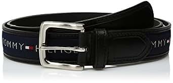 Tommy Hilfiger Men's Ribbon Inlay Belt (Regular Sizes & Big and Tall),Black/Navy,30
