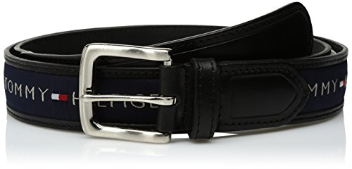 (Tommy Hilfiger Men's Ribbon Inlay Belt - Ribbon Fabric Design with Single Prong Buckle, Black/Navy, 34)