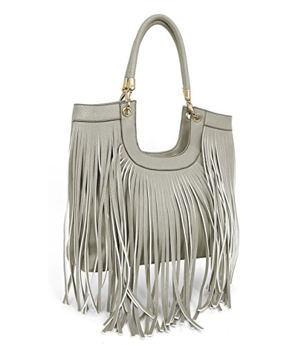 Beaute Bags Maddee Fringe Tassel Shoulder Handbag Vegan Leather (Pewter) ()