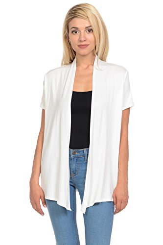 Pastel by Vivienne Women's Short Sleeve Open Front Vest Medium Ivory