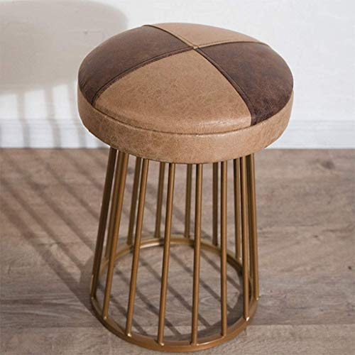QQXX Footstool, American Antique Industrial Rustic Distressed Metal Bar Stool/Ottomans Cast Iron Base Circle/Square(Brown Bonded Leather) (Color : B)