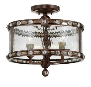 Paragon - Three Light Semi-Flush Mount, Gilded Bronze Finish with Clear Watered Glass - Savoy House 6-6032-3-131